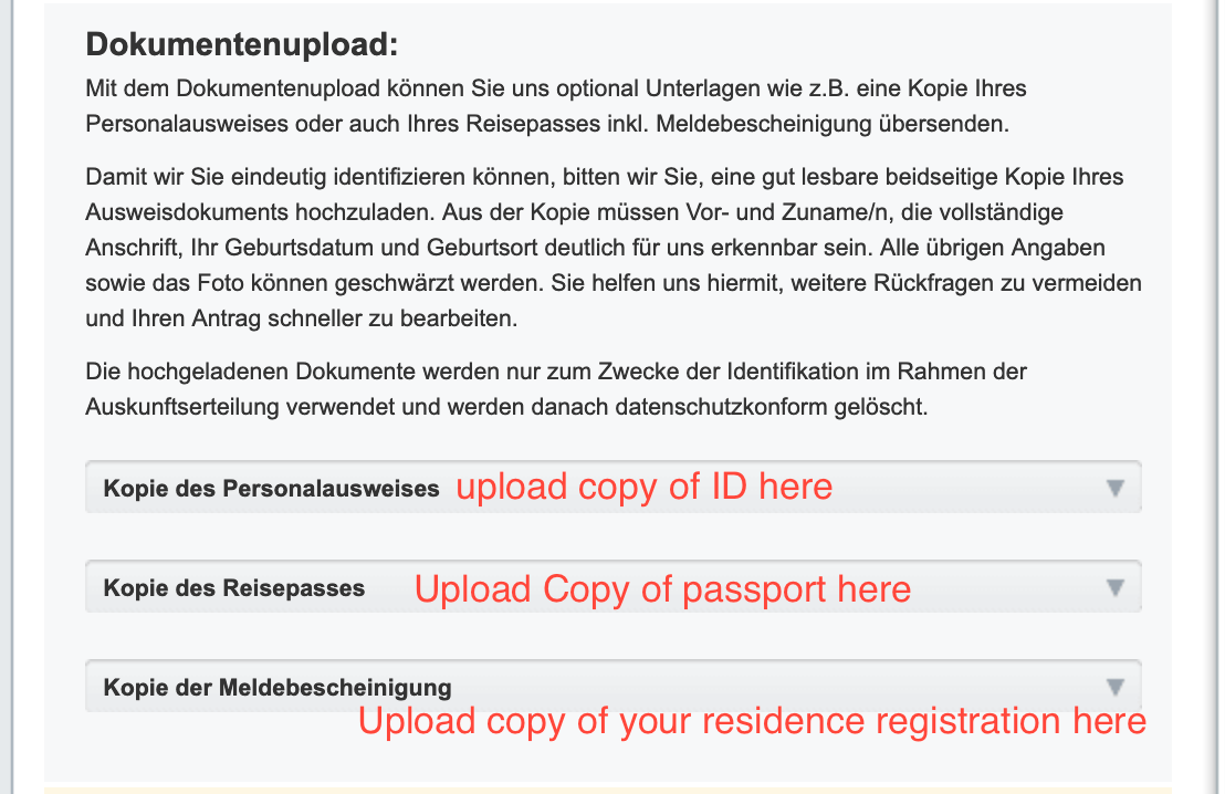 how to upload documents for free schufa copy in Germany