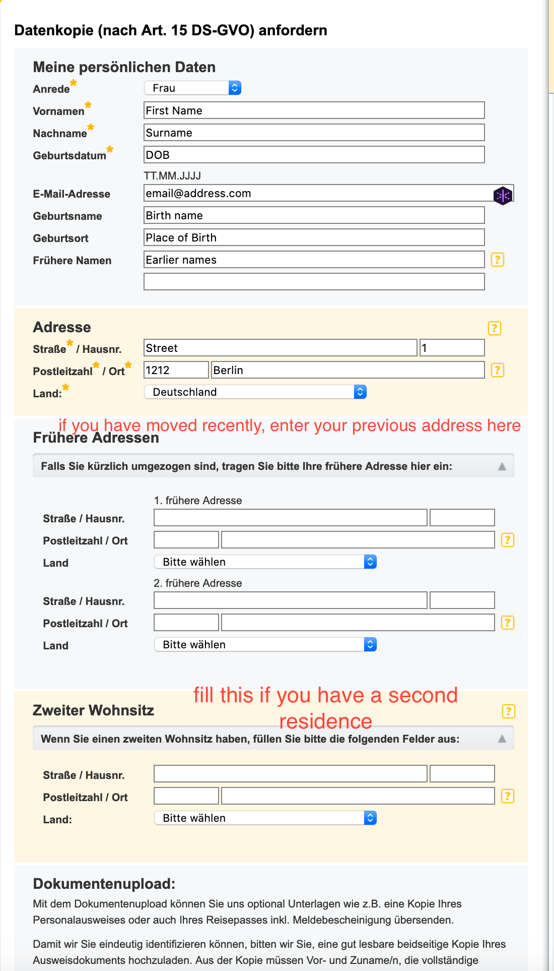 forms for getting free schufa in germany